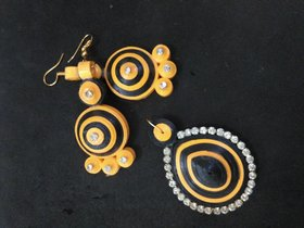 Earring for Women (Earring With Pendent) Black  Yellow