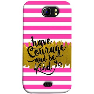 FUSON Designer Back Case Cover for Micromax Canvas 2 A110Q  :: Micromax A110Q Canvas 2 Plus :: Micromax Canvas 2 A110 (Pink And White Horizontal Strips Gold Paint Black Font)