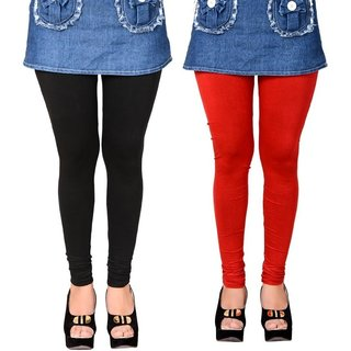 Black and Red Cotton Lycra Leggings for Women(Pack of 2)
