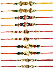 Vanyas Set Of 10 Pcs Assorted Designer Rakhi