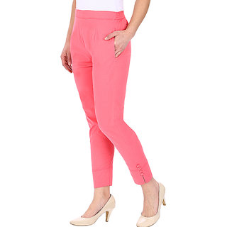 Pink Cotton Pants for Womem
