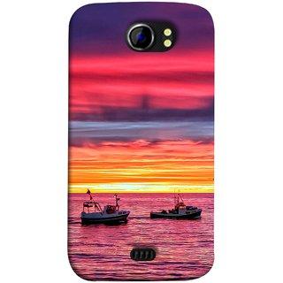 FUSON Designer Back Case Cover for Micromax Canvas 2 A110Q  :: Micromax A110Q Canvas 2 Plus :: Micromax Canvas 2 A110 (Red Sky Horizon Fishing Boats Sun Shining Happy)