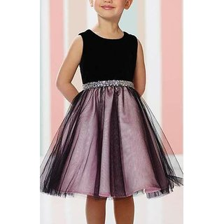 Meia for girls black check print cotton frock