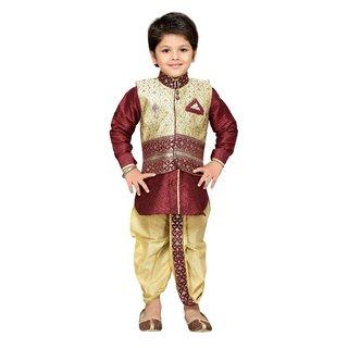 AJ Dezines Kids Dhoti Kurta Waistcoat Set for Boys