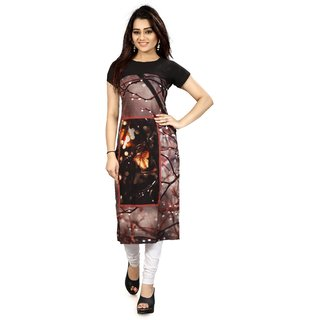 Glance Designs Digital Printed Crepe straight Long kurti For Women's