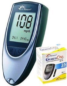 Dr. Morepen BG-03 Gluco One Glucometer + 25 Sugar Testing Strips, Blood Sugar Meter