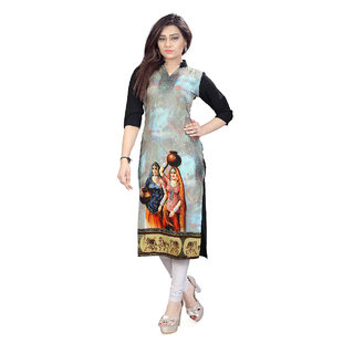 Glance Designs Woman's Digital Printed crepe straight cut kurti41