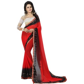 AS Fashion Red chiffon saree and casual wear and work wear printed saree