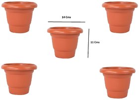 Plastic Flower Pots(11 X 14 cm) - Set of 5 (S.No-111)
