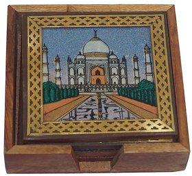 Maruti Rajasthani Handicraft Wooden Handmade Tea Coasters Set