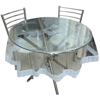 225 & Round Table Cover Transparent with wite lace