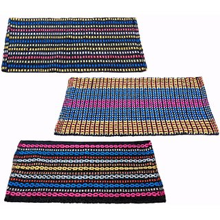 CRAYAGA Traditional Style Eco Series Crochet 3 Piece Cotton Blend Door Mat