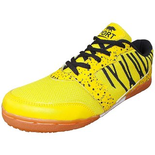 Port Mens SkyFall Black Yellow Pu Running Sports Shoes