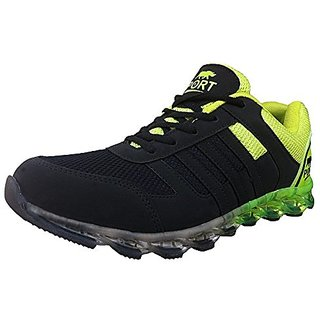Port Mens Venus Green Black Pu Running Sports Shoes