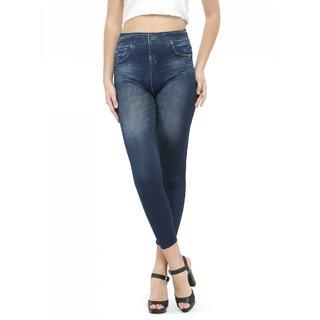 Lcnd Women Stylish Print Denim Look Leggings Blue
