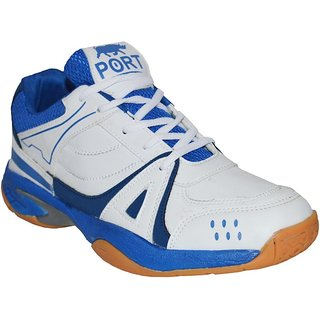Port Mens Bull Activa White Blue Pu Running Sports Shoes