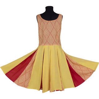 Silver Thread Girl's Midi/Knee Length Casual Dress (Yellow & Red)