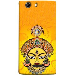 FUSON Designer Back Case Cover for Micromax Canvas 5 E481 (Bless Happy Navratri Crown Mukut Third Eye Neckles)