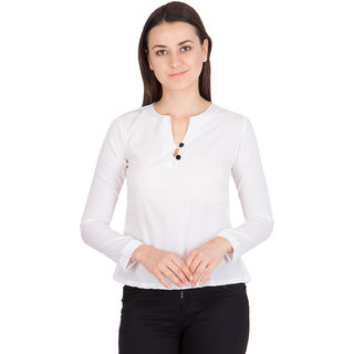 Khhalisi White Coloured Cotton Polyester Top