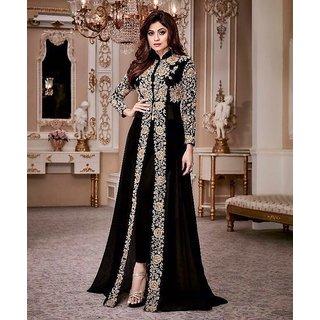 ea96548b7 Indian Sylish Designer Bollywood Pakistani Black Shamita Shetty Unstitched Anarkali  Gown Salwar Suit Dress Material