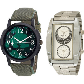 Stylox Men's Stylish Combo Of 2 MultiColor Dial Analogue Watches