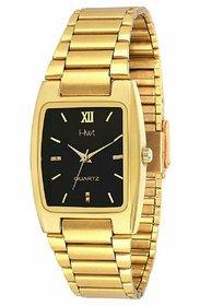 Hwt Rectangle Black Dial Golden Metal Men Quartz Watch