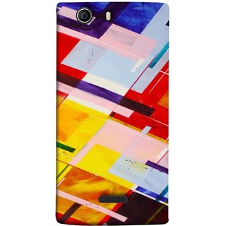 FUSON Designer Back Case Cover for Micromax Canvas 5 E481 (Bright Beautiful Colour Strips And Band Wave Triangle)