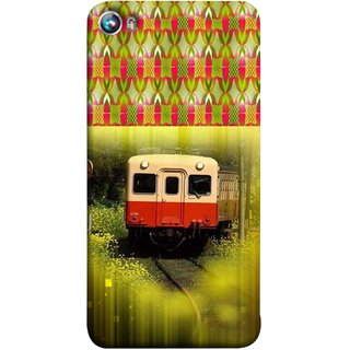 FUSON Designer Back Case Cover for Micromax Canvas Fire 4 A107 (Old Trains Sunshine Yellow Flowers Express Mail )
