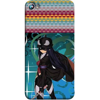 FUSON Designer Back Case Cover for Micromax Canvas Fire 4 A107 (Blue Background Woman Standing Holding Warrior Fantasy)