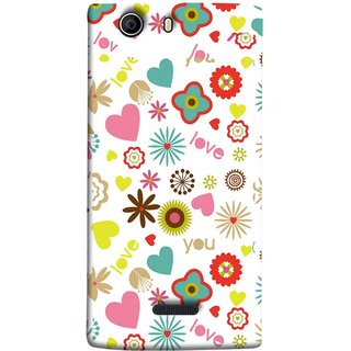 FUSON Designer Back Case Cover for Micromax Canvas 5 E481 (Love You Pink Yellow Hearts Snow Red Flowers Garden )