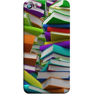 FUSON Designer Back Case Cover for Micromax Canvas Fire 4 A107 (Stack Of Colorful Books White Pages School)