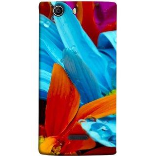 FUSON Designer Back Case Cover for Micromax Canvas 5 E481 (Blue Prange Pink Multicolor Pink Flowers Patterns)