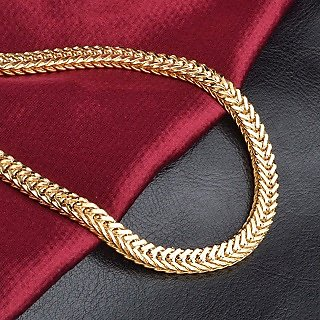 New fox Men's Chain Designer Fancy Handmade Latest 24k Gold Plated By Indian Goldsmith With 6 Months Warranty 22 inch Size