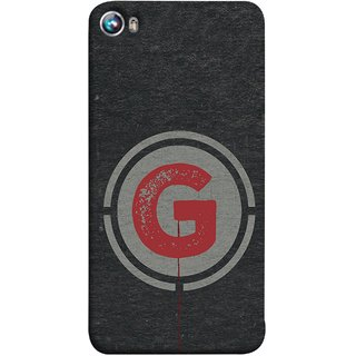 FUSON Designer Back Case Cover for Micromax Canvas Fire 4 A107 (Dark Alphabet Circle Vintage Grey Circle Pattern G)