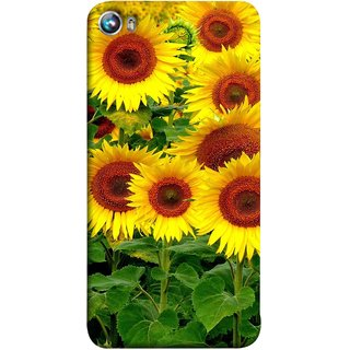 FUSON Designer Back Case Cover for Micromax Canvas Fire 4 A107 (Field Of Bright Happy Sunflowers Outside Oil Food)
