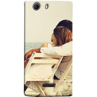 FUSON Designer Back Case Cover for Micromax Canvas 5 E481 (Beautiful Husband Wife Lovers Valentines Sitting Sea Shore)