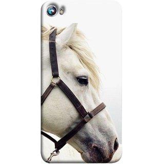 FUSON Designer Back Case Cover for Micromax Canvas Fire 4 A107 (Beautiful Horse White Closeup Canvas Wallpaper)