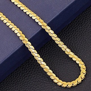 New 'S' Design Fancy Handmade Latest Men's Chain 24k Gold Plated By Indian Goldsmith With 6 Months Warranty 22 inch Size