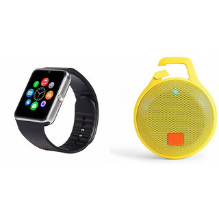 Mirza GT08 Smart Watch and Clip plus Bluetooth Speaker for MICROMAX BOLT Q335(GT08 Smart Watch with 4G sim card, camera, memory card |Clip plus Bluetooth Speaker  )