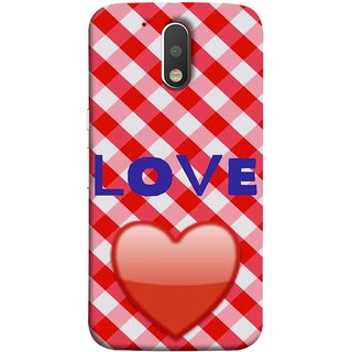 FUSON Designer Back Case Cover for Motorola Moto G4 Plus (Red Shiny Heart Against Red And White Checkered)
