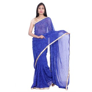 Kastiel Blue Georgette Bandhej Saree For Women