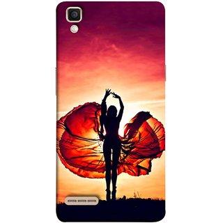 FUSON Designer Back Case Cover for Oppo F1 :: A35 (Beautiful Female Dancer Silhouette In The Sun )