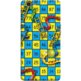 FUSON Designer Back Case Cover for Oppo F1s (Dice Pair Nice Game India Blue Children Squares Girls )