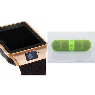 Zemini DZ09 Smartwatch and Facebook Pill Bluetooth Speaker  for SONY xperia mini (DZ09 Smart Watch With 4G Sim Card, Memory Card  Facebook Pill Bluetooth Speaker)