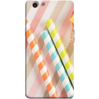 FUSON Designer Back Case Cover for Oppo F1s (Paper Plastic Straws Blur Yellow Orange Pink)