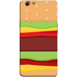 FUSON Designer Back Case Cover for Oppo F1s (Artwork Green Red Lines Brown Circles Bubbles)
