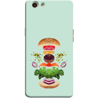 FUSON Designer Back Case Cover for Oppo F1s (Flying Burger Ingredients Onion Cheese Tomatos )