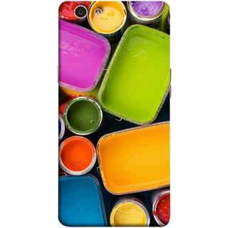 FUSON Designer Back Case Cover for Oppo F1s (Cans And Paint On Colour Background Bright Full Joy )