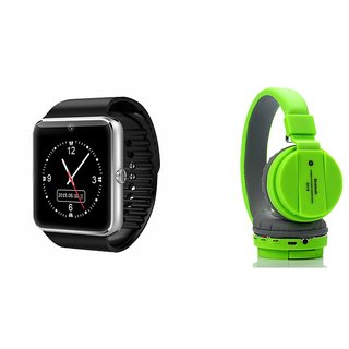 Zemini GT08 Smart Watch and SH 12 Bluetooth Headphone for LG fx0(GT08 Smart Watch with 4G sim card, camera, memory card |SH 12 Bluetooth Headphone )