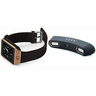 Zemini DZ09 Smart Watch and Gibox G6 Bluetooth Speaker for PANASONIC ELUGA A(DZ09 Smart Watch With 4G Sim Card, Memory Card| Gibox G6 Bluetooth Speaker)